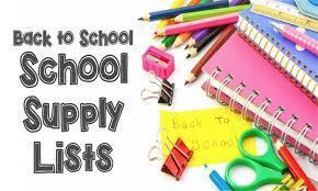 Back to school supply list!