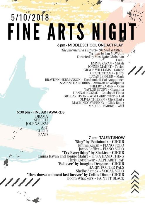 Fine Arts Night Line-Up!