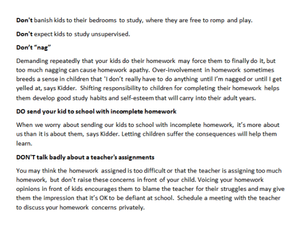 Homework Do's & Don'ts