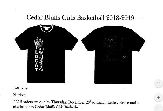 bball shirt orders