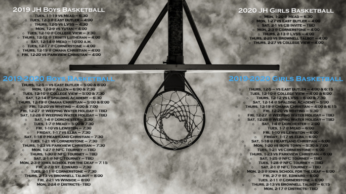 2019-2020 Basketball Schedules