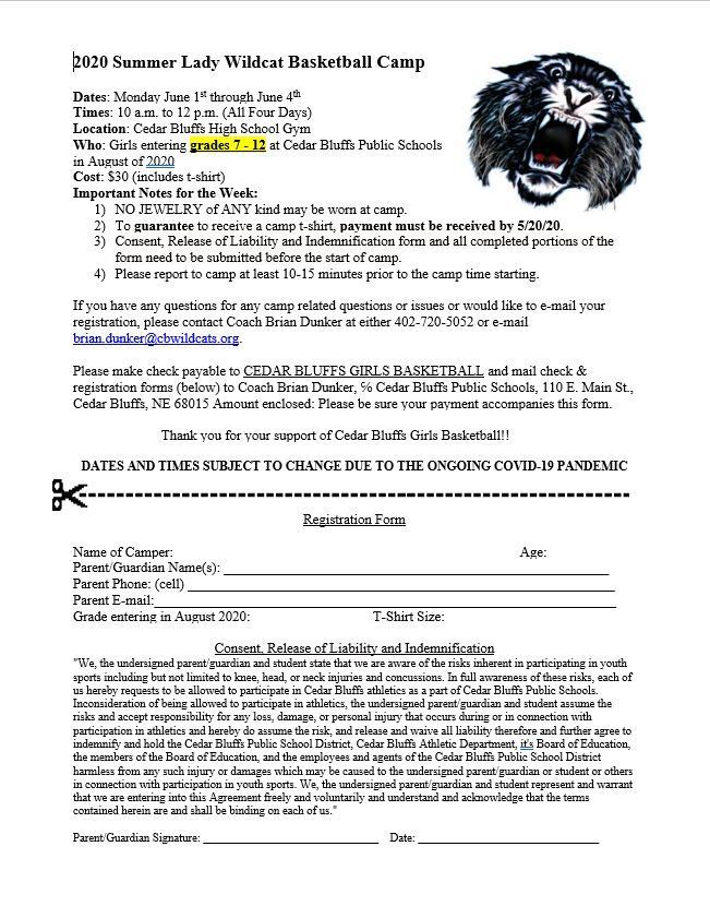 girls basketball camp flyer 20-21