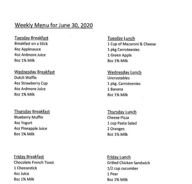 6/20 lunch menu
