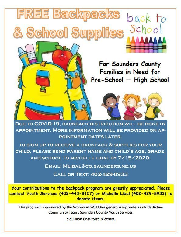 backpack and supplies flyer